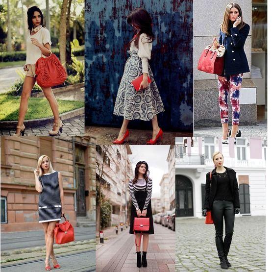 С чем носить красную сумку лучшие