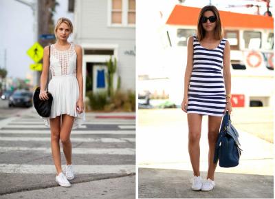 Кроссовки с юбкой и платьем фото