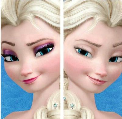 Эльза с косметикой и без макияжа