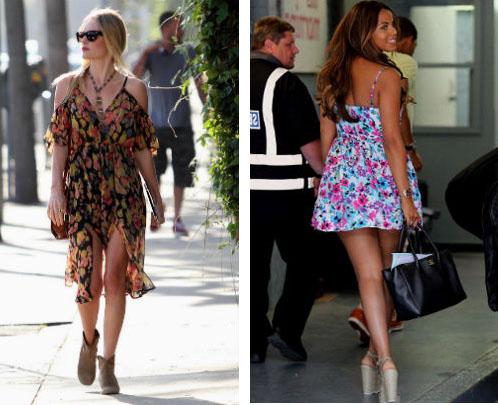 Платье в цветы с чем носить