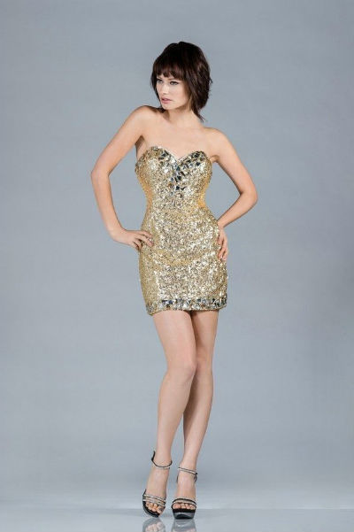 Короткое золотое платье фото