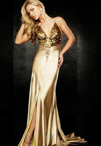 Бежево золотистые платья