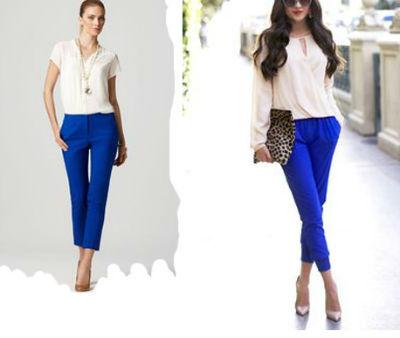 С чем одеть синие укороченные брюки