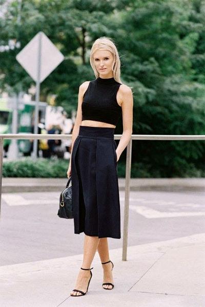 Длинная расклешенная юбка черная