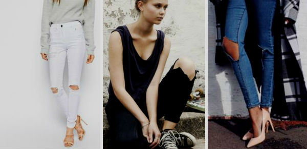 Модный уличный стиль: джинсы с дырками на коленях (50 фото)
