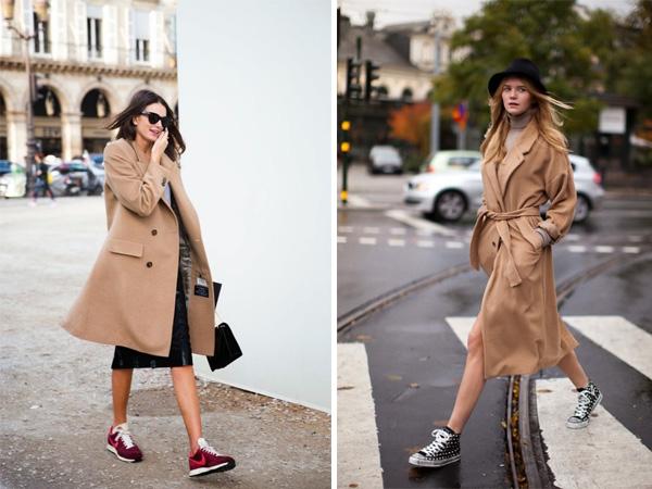 Джинсовая юбка и пальто