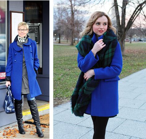 Аксессуары к синему пальто