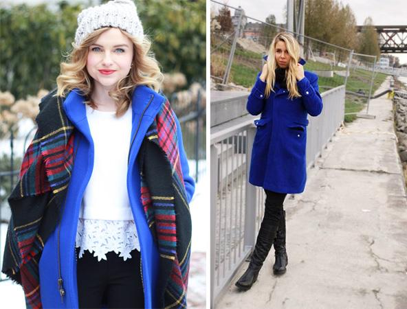 Какой шарф подойдет к синему пальто.