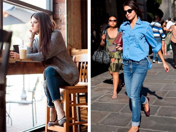 Балетки с джинсами.
