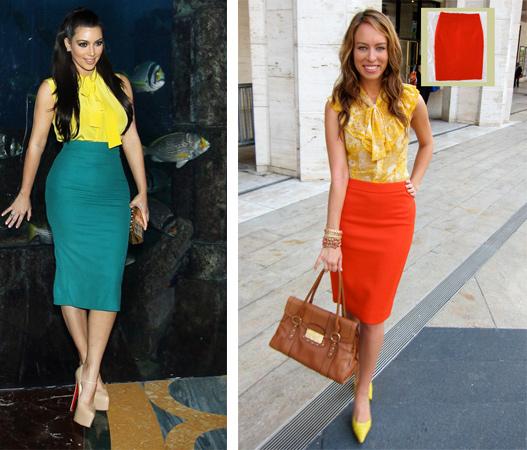 С чем носить юбку карандаш цветную фото