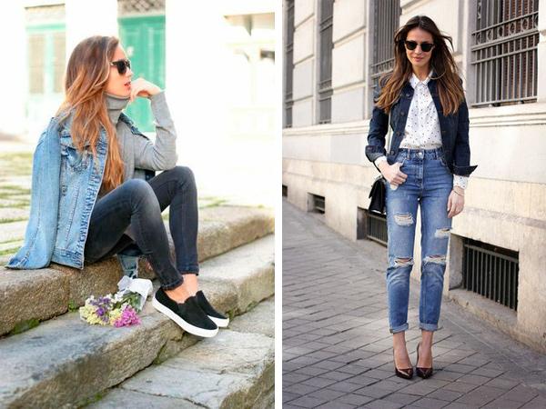 С чем носить женскую джинсовую куртку, фото.