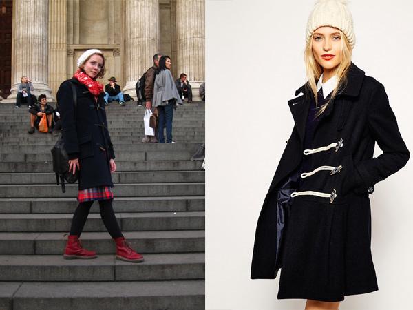 Черное пальто с красным шарфом.