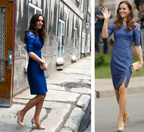 Бежевые туфли с синим платьем фото