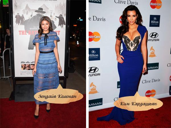 Знаменитости в синих платьях.
