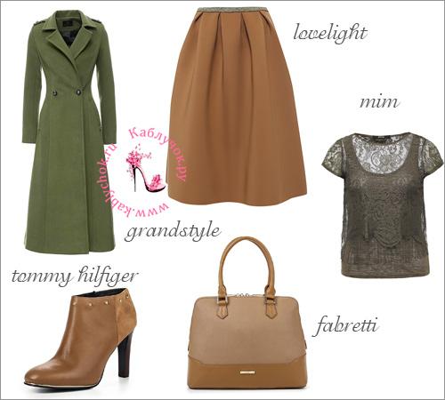 Болотного цвета пальто, коричневая юбка миди, ботильоны и сумка, а также темно-зеленая блузка с короткими рукавами.