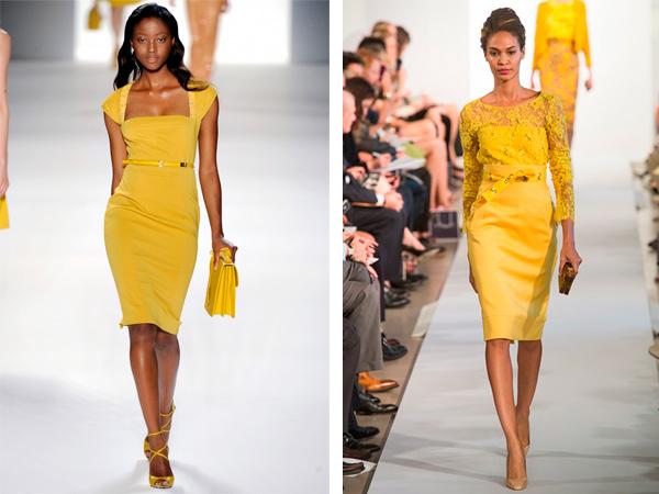 С таким платьем можно носить желтые сумочки.