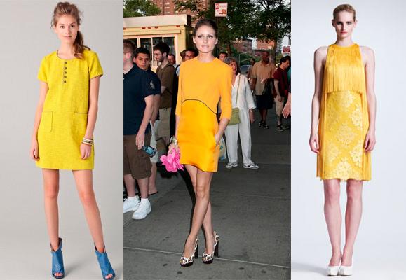 Синие туфли желтое платье