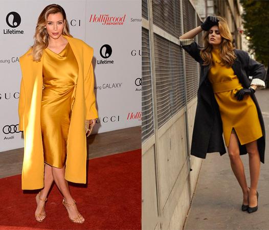 Темно-желтое пальто с аналогичным по цвету платьем.