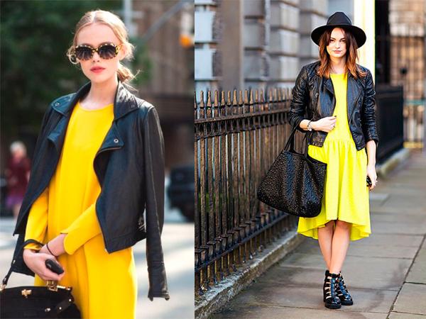 Черная кожаная куртка отлично смотрится с желтым платьем.