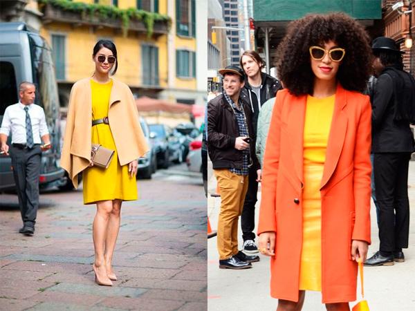 С красивым платьем желтого цвета можно комбинировать оранжевое ил бежевое пальто.
