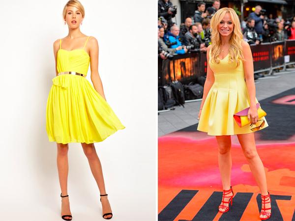 Платье в желтом цвете хорошо сморится с сумкой мультиколор.