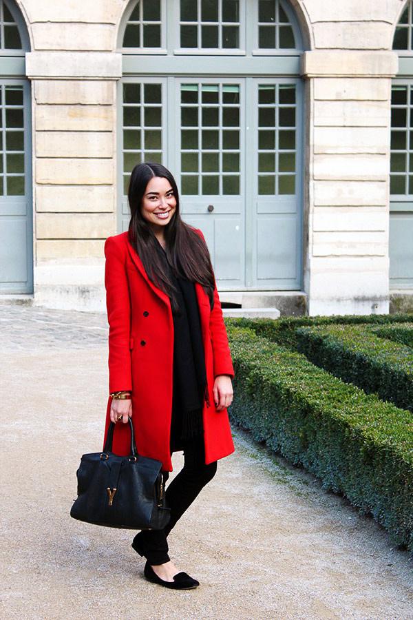 С чем носить красное пальто, фото.
