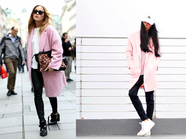 Розовое пальто фото.
