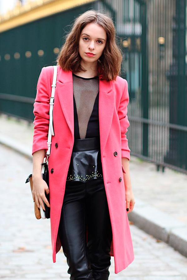 С чем носить розовое пальто фото.