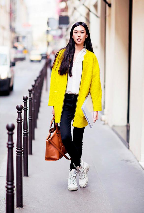 С чем носят желтое пальто фото