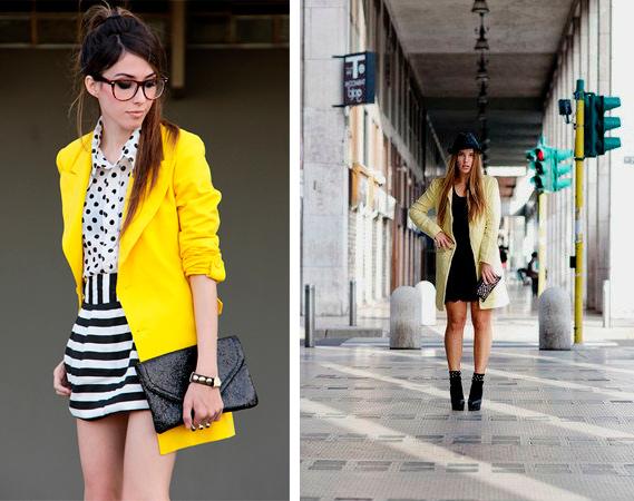 С чем носить желтое пальто, фото.