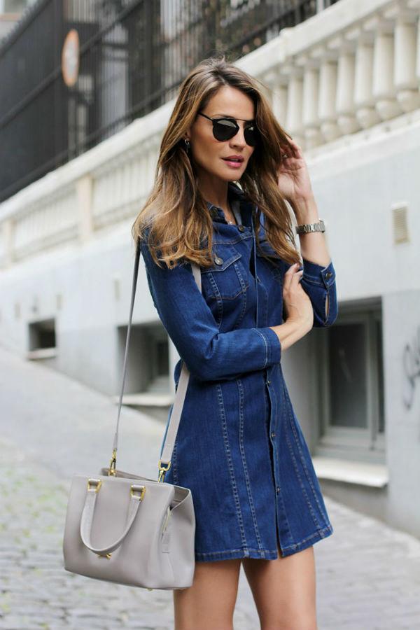 С чем можно носить джинсовое платье