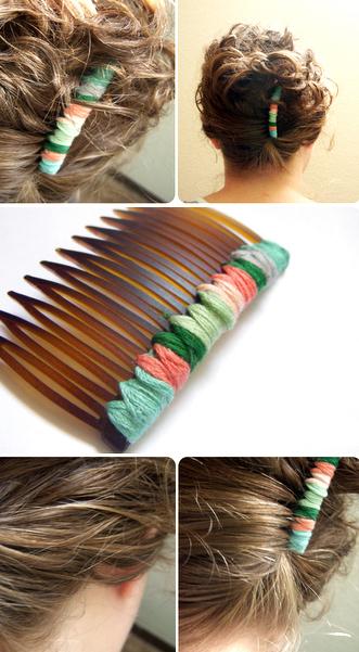 Идея украшения простого гребня для волос (декор нитками мулине)
