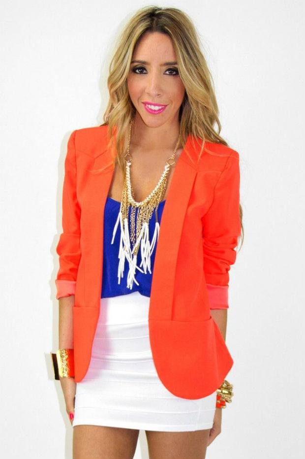 Женский оранжевый пиджак – модный тренд (более 45 фото)