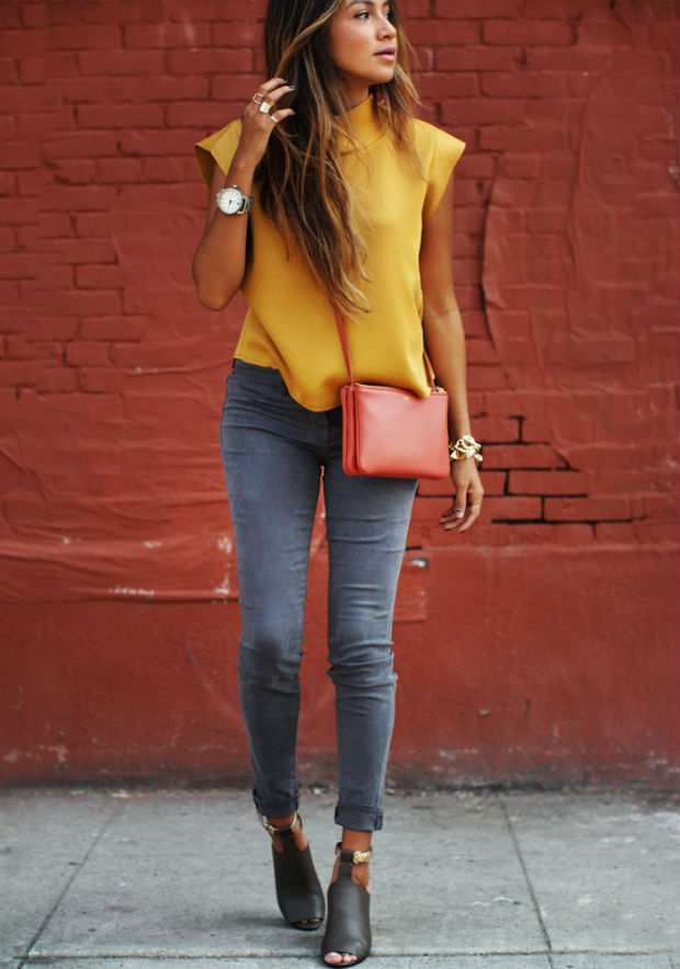 Джинсы и блузка - модно, стильно и свежо (более 70 фото)