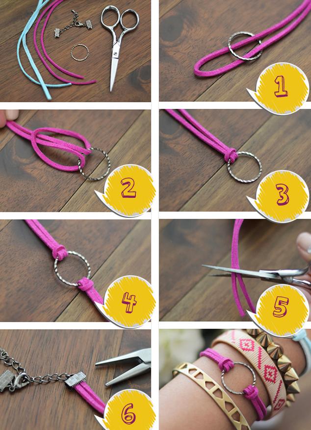Как сделать модный браслет из замшевого шнура за 5 минут