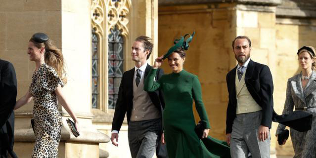 Беременная Пиппа Миддлтон с мужем Джеймсом Мэттьюзом на свадьбе принцессы Евгении