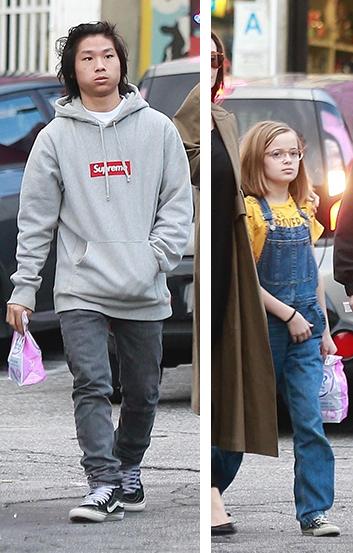 Прогулки с мороженым: Анджелина Джоли на улицах Лосс-Анджелеса с детьми