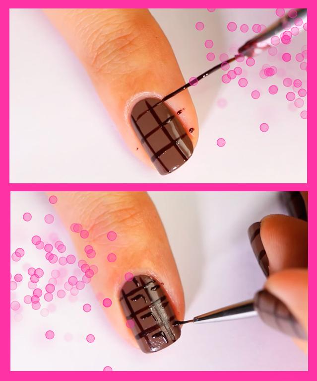 Так аппетитно: маникюр в виде плитки шоколада (пошагово)
