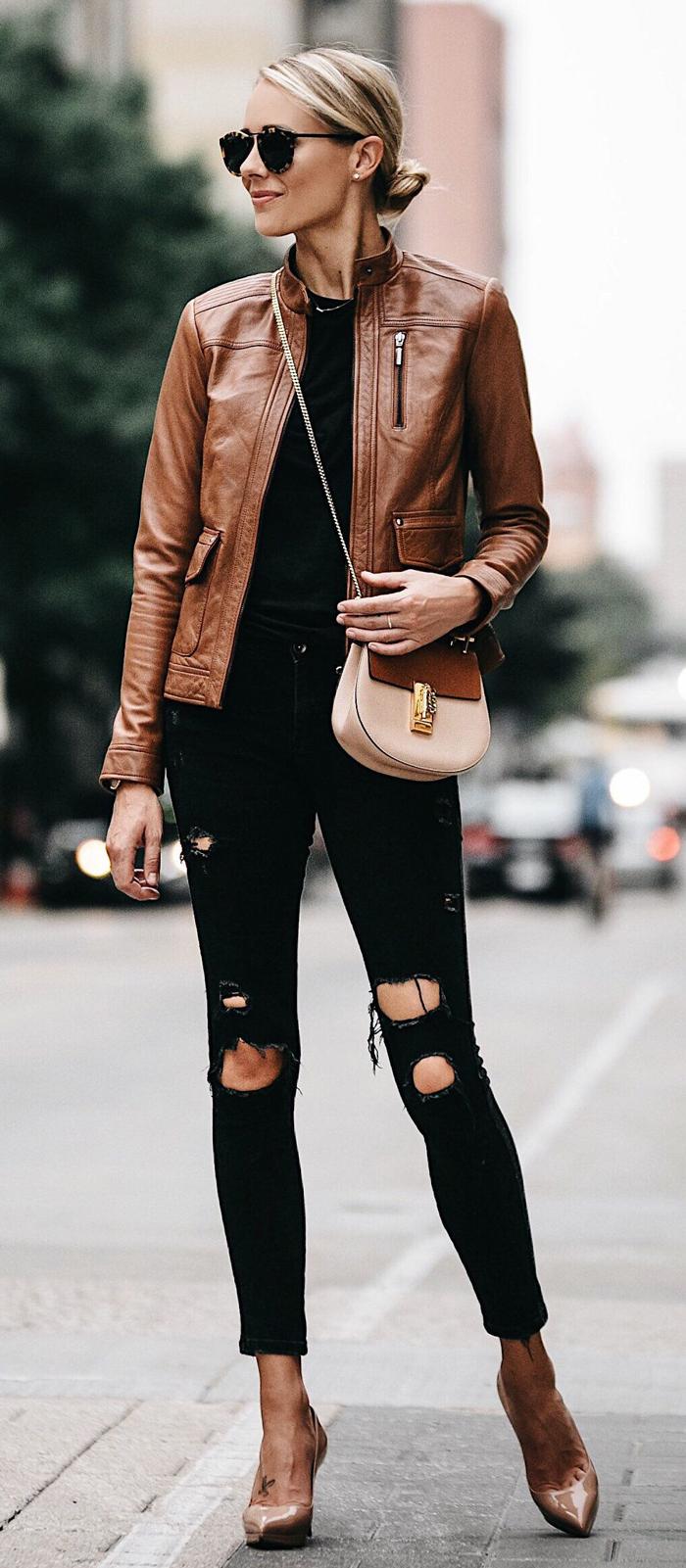 С чем носить кожаную куртку осенью (более 50 фото)