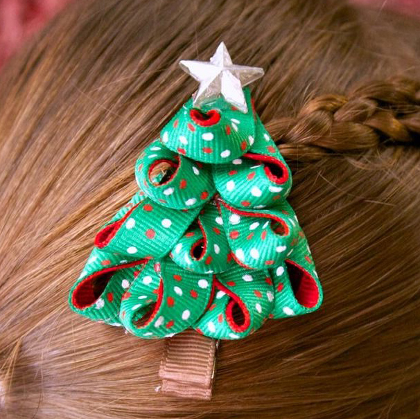 Заколка для волос в виде елочки своими руками (мастер-класс)