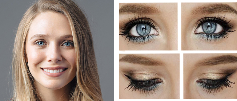 Простой в повторении макияж для голубых глаз в домашних условиях