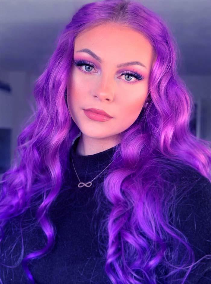 Невероятные фиолетовые волосы (большая подборка фото девушек с фиолетовым цветом волос)